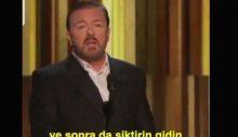 Altın Küre sunucusu Ricky Gervais: Ödülünüzü alın, s.ktir olup gidin!