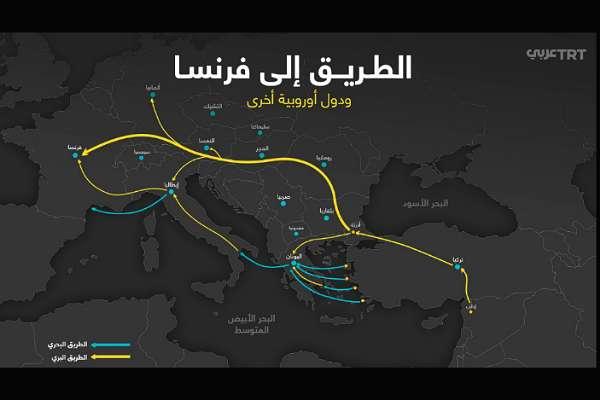 TRT Arapça, 'Avrupa'ya gidiş rotalarını' paylaştı