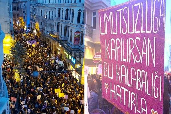 Tüm engellemelere rağmen binlerce kadın Taksim'de #feministgeceyürüyüşü