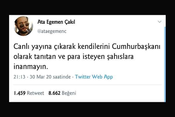 Erdoğan'ın yardım kampanyasını eleştiren üniversite öğrencisi gece gözaltına alındı!