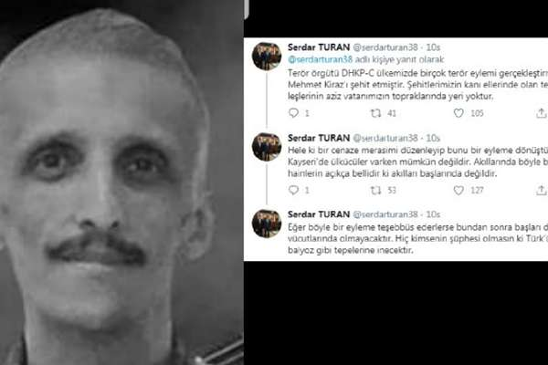 Kayseri Ülkü Ocağı Başkanı, İbrahim Gökçek'in cenazesine katılacak olanları tehdit etti