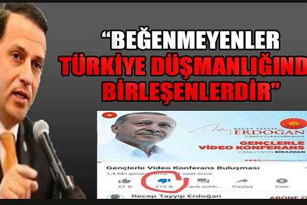 """AKP'li Birinci, """"dislike'çıları"""" """"Türkiye Düşmanı"""" ilan etti"""
