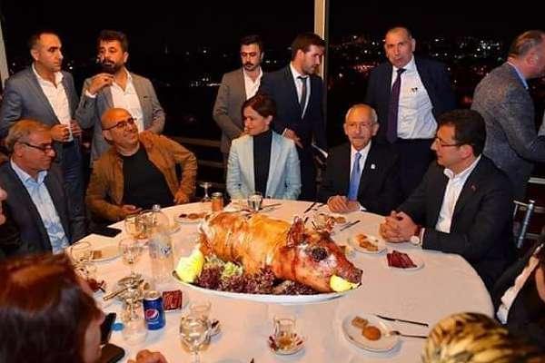 Kılıçdaroğlu, Kaftancıoğlu ve İmamoğlu'nun masasına photoshopla domuz kondurdular