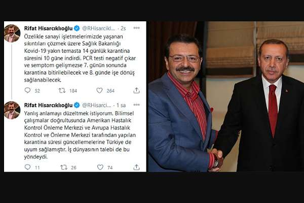 TOBB Başkanı Hisarcıklıoğlu'ndan 'karantina süresi' itirafı!