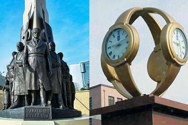 Gökçek'in 'kol saati' heykeli yerine 'Kızılca Gün Anıtı' dikildi