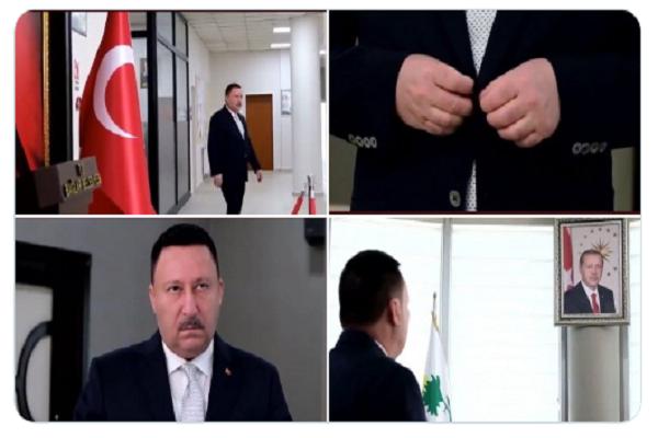 """Erdoğan'ın fotoğrafı önünde saygı duruşunda bulunan Belediye Başkanı ismini değiştirmiş: """"Eskiden 'Rüşvetçi İmam' olarak biliniyordu"""""""
